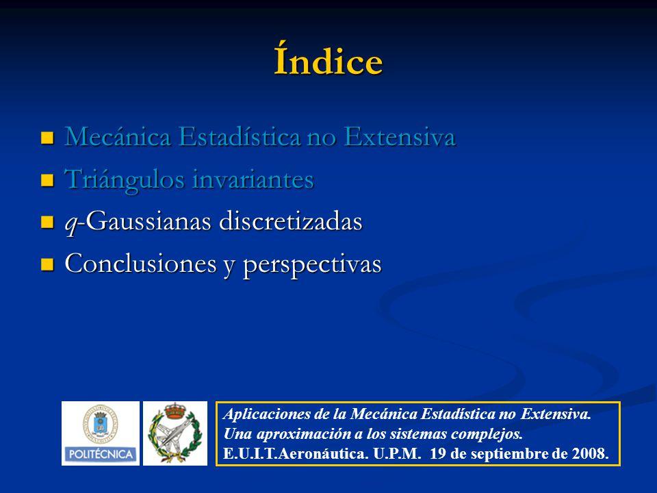 Índice Mecánica Estadística no Extensiva Mecánica Estadística no Extensiva Triángulos invariantes Triángulos invariantes q-Gaussianas discretizadas q-
