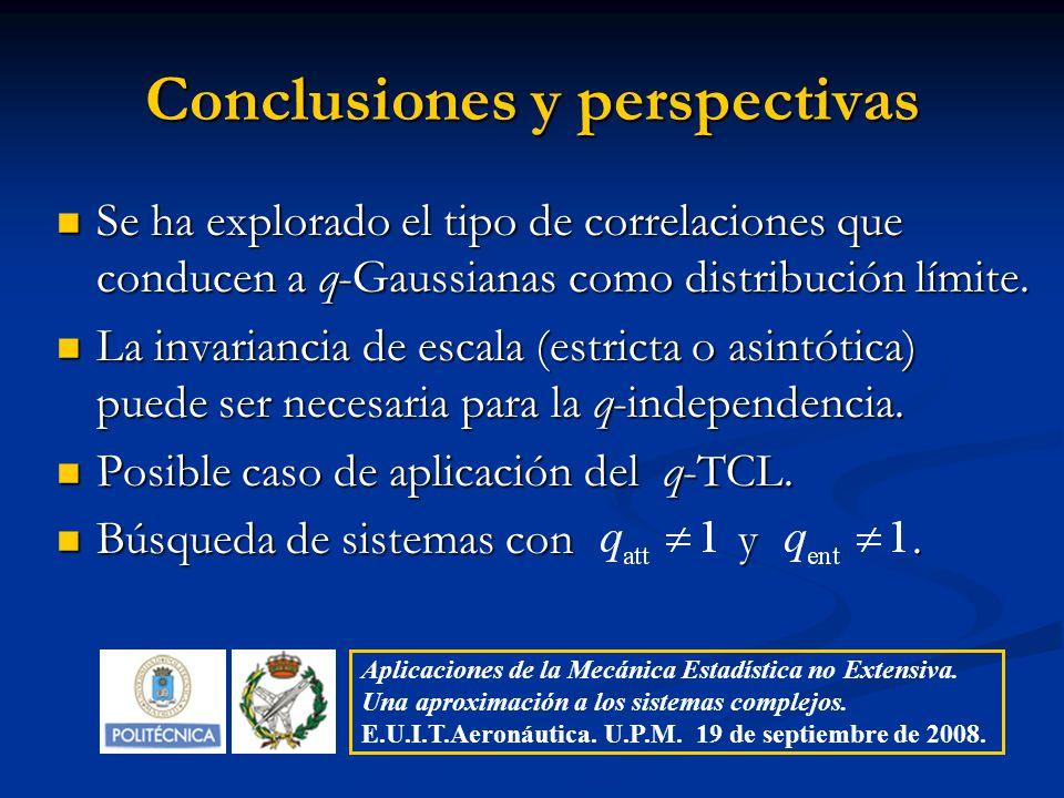Conclusiones y perspectivas Se ha explorado el tipo de correlaciones que conducen a q-Gaussianas como distribución límite. Se ha explorado el tipo de