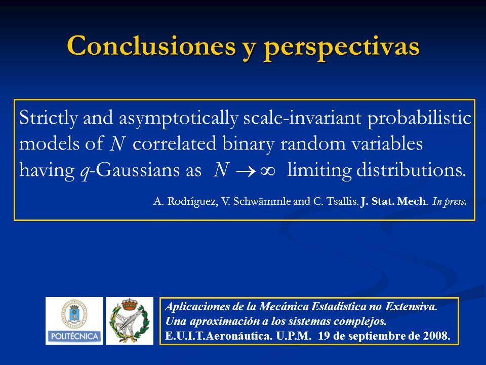 Conclusiones y perspectivas Aplicaciones de la Mecánica Estadística no Extensiva. Una aproximación a los sistemas complejos. E.U.I.T.Aeronáutica. U.P.
