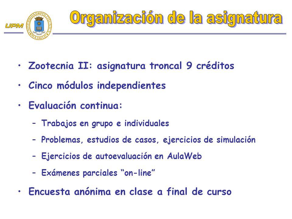 Zootecnia II: asignatura troncal 9 créditos Cinco módulos independientes Evaluación continua: –Trabajos en grupo e individuales –Problemas, estudios d