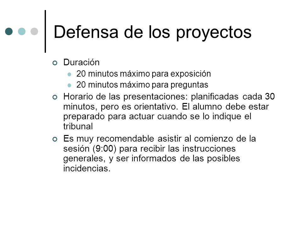 Defensa de los proyectos Duración 20 minutos máximo para exposición 20 minutos máximo para preguntas Horario de las presentaciones: planificadas cada 30 minutos, pero es orientativo.