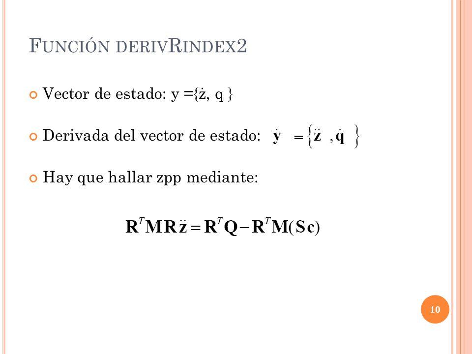 F UNCIÓN DERIV R INDEX 2 Vector de estado: y ={ż, q } Derivada del vector de estado: Hay que hallar zpp mediante: 10