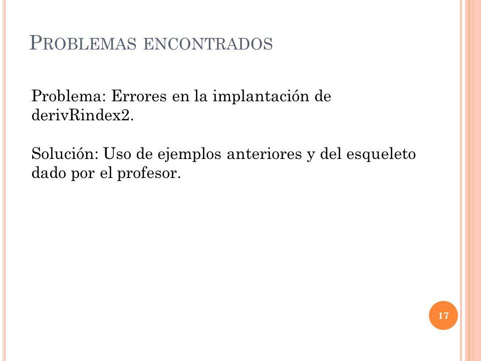 P ROBLEMAS ENCONTRADOS 17 Problema: Errores en la implantación de derivRindex2.
