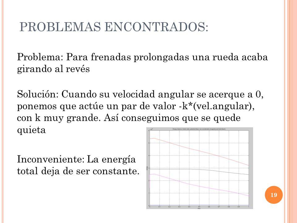 PROBLEMAS ENCONTRADOS: 19 Problema: Para frenadas prolongadas una rueda acaba girando al revés Solución: Cuando su velocidad angular se acerque a 0, ponemos que actúe un par de valor -k*(vel.angular), con k muy grande.