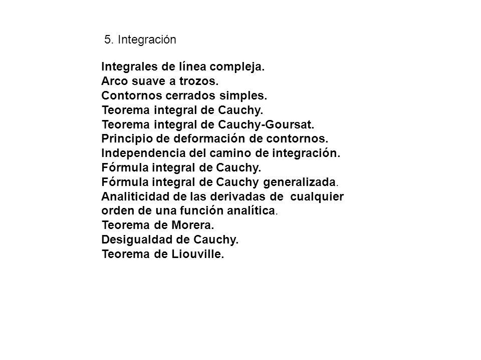 Integrales de línea compleja. Arco suave a trozos. Contornos cerrados simples. Teorema integral de Cauchy. Teorema integral de Cauchy-Goursat. Princip