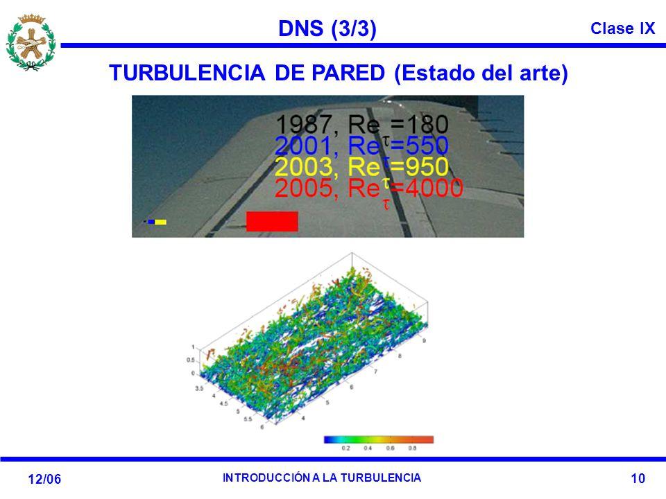 Clase IX 12/06 INTRODUCCIÓN A LA TURBULENCIA 10 DNS (3/3) TURBULENCIA DE PARED (Estado del arte)