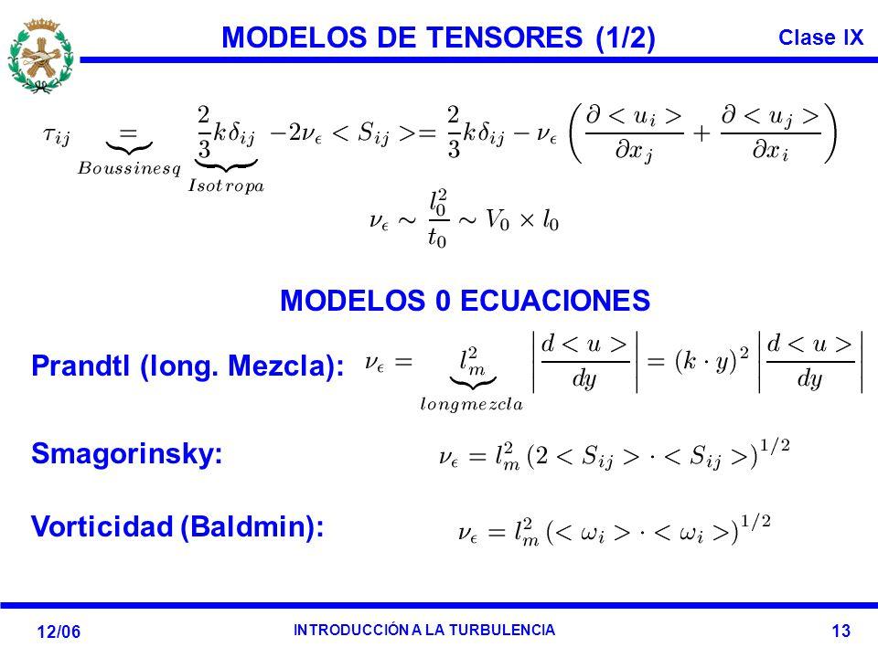 Clase IX 12/06 INTRODUCCIÓN A LA TURBULENCIA 13 MODELOS DE TENSORES (1/2) Prandtl (long. Mezcla): Smagorinsky: Vorticidad (Baldmin): MODELOS 0 ECUACIO