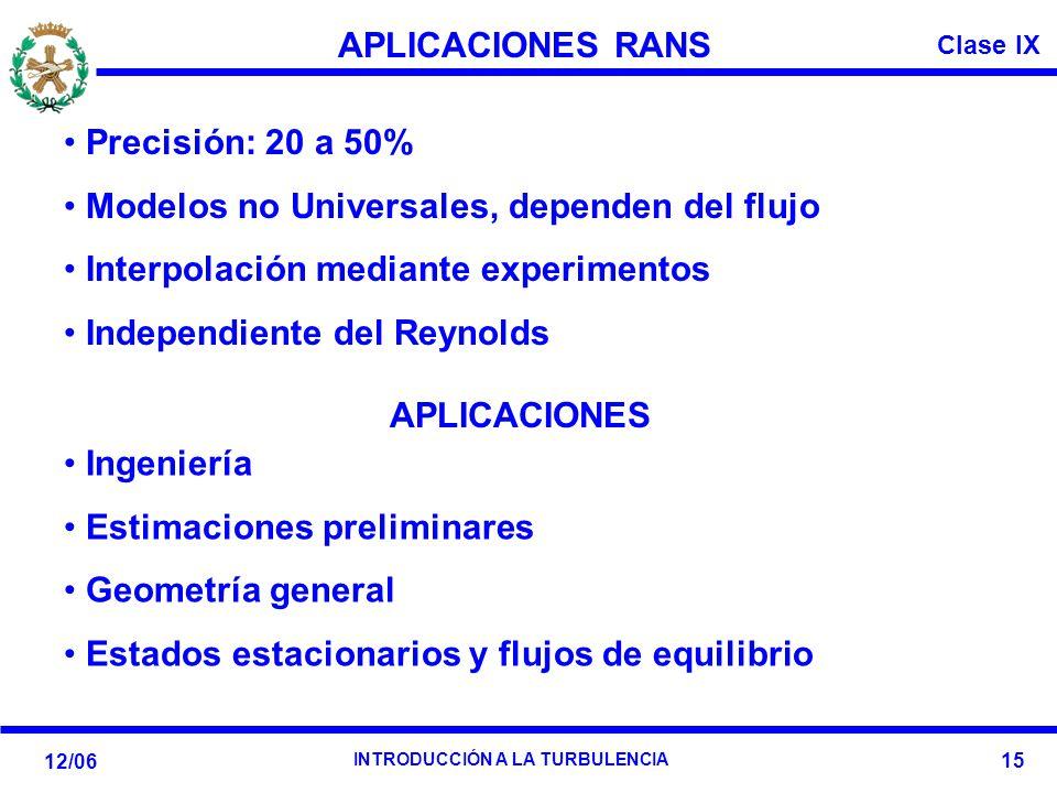 Clase IX 12/06 INTRODUCCIÓN A LA TURBULENCIA 15 APLICACIONES RANS APLICACIONES Precisión: 20 a 50% Modelos no Universales, dependen del flujo Interpol