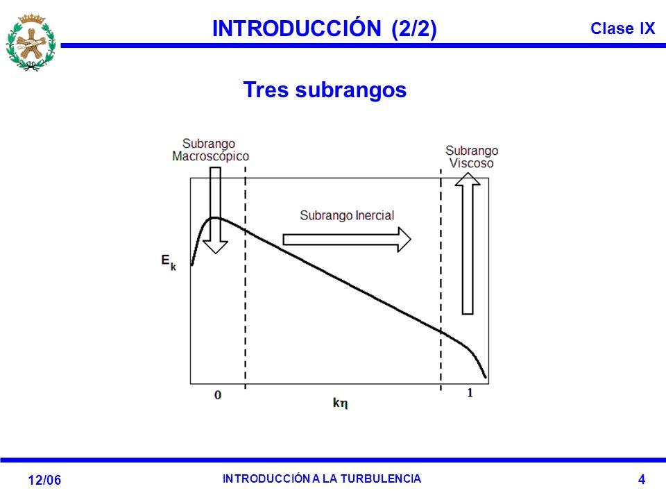 Clase IX 12/06 INTRODUCCIÓN A LA TURBULENCIA 4 INTRODUCCIÓN (2/2) Tres subrangos