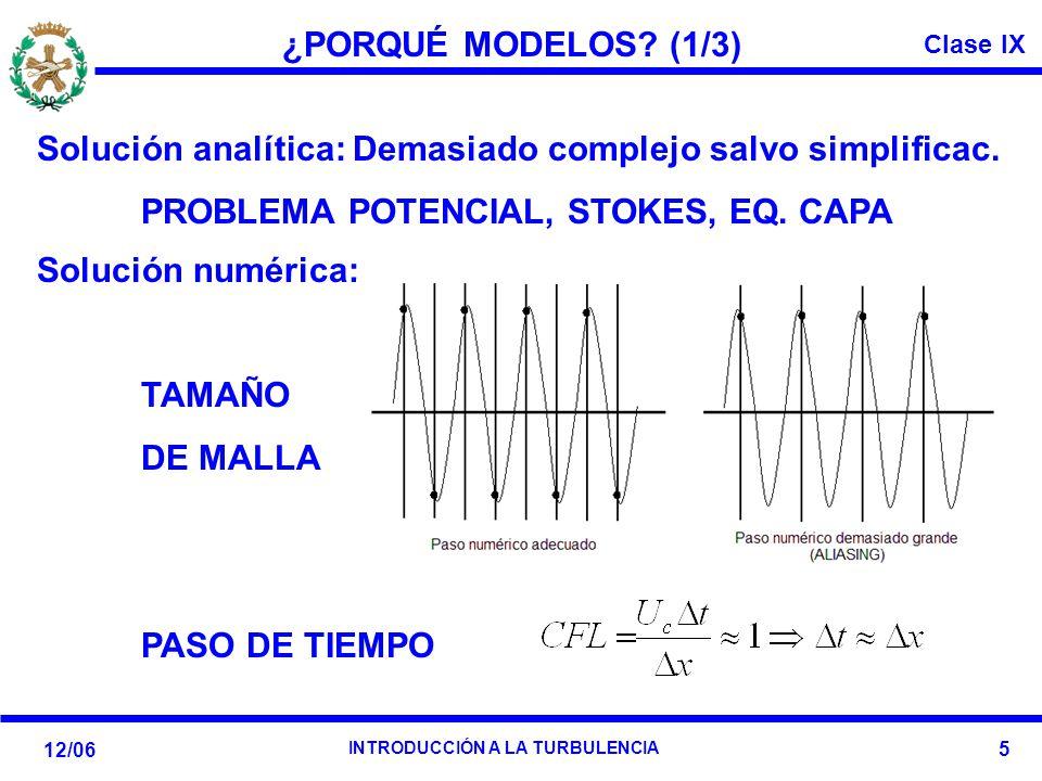 Clase IX 12/06 INTRODUCCIÓN A LA TURBULENCIA 5 ¿PORQUÉ MODELOS? (1/3) Solución analítica: Demasiado complejo salvo simplificac. PROBLEMA POTENCIAL, ST