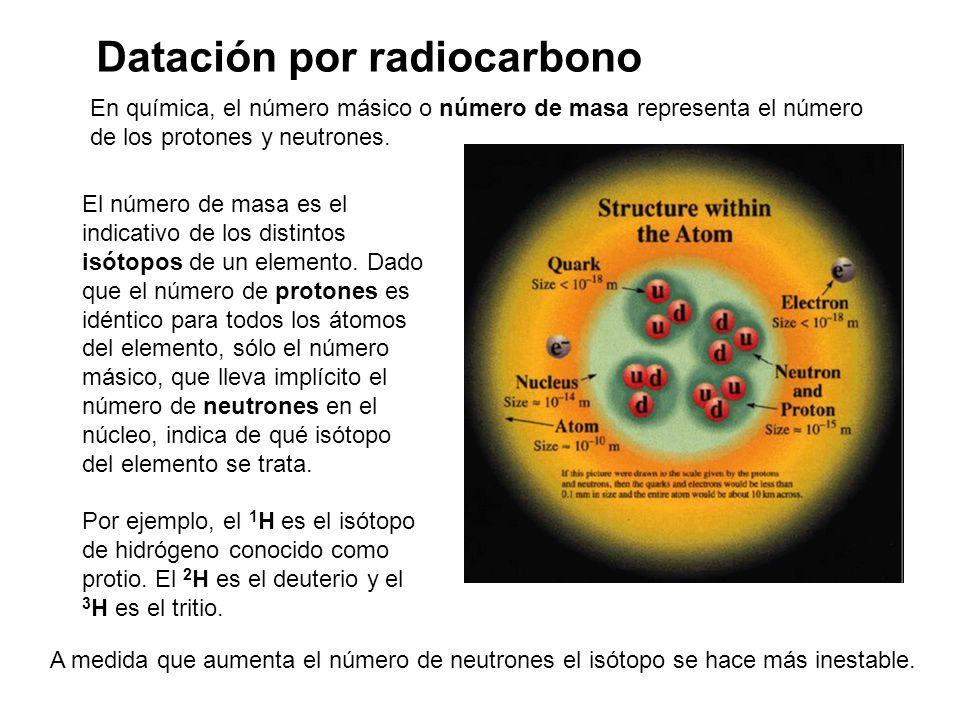 Datación por radiocarbono En química, el número másico o número de masa representa el número de los protones y neutrones.
