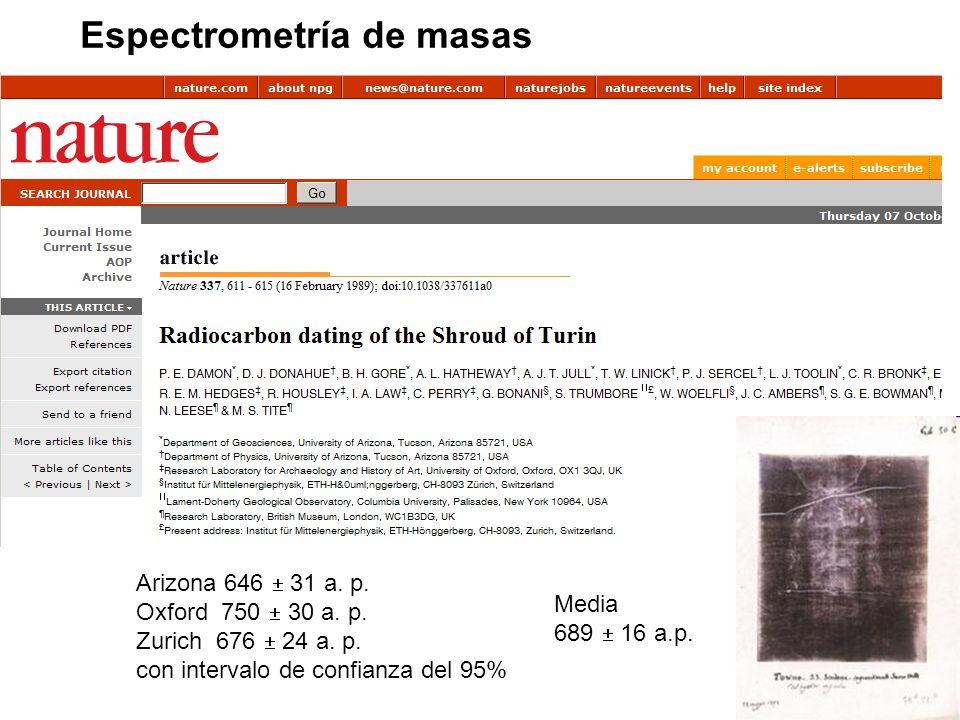 Espectrometría de masas Arizona 646 31 a.p. Oxford 750 30 a.