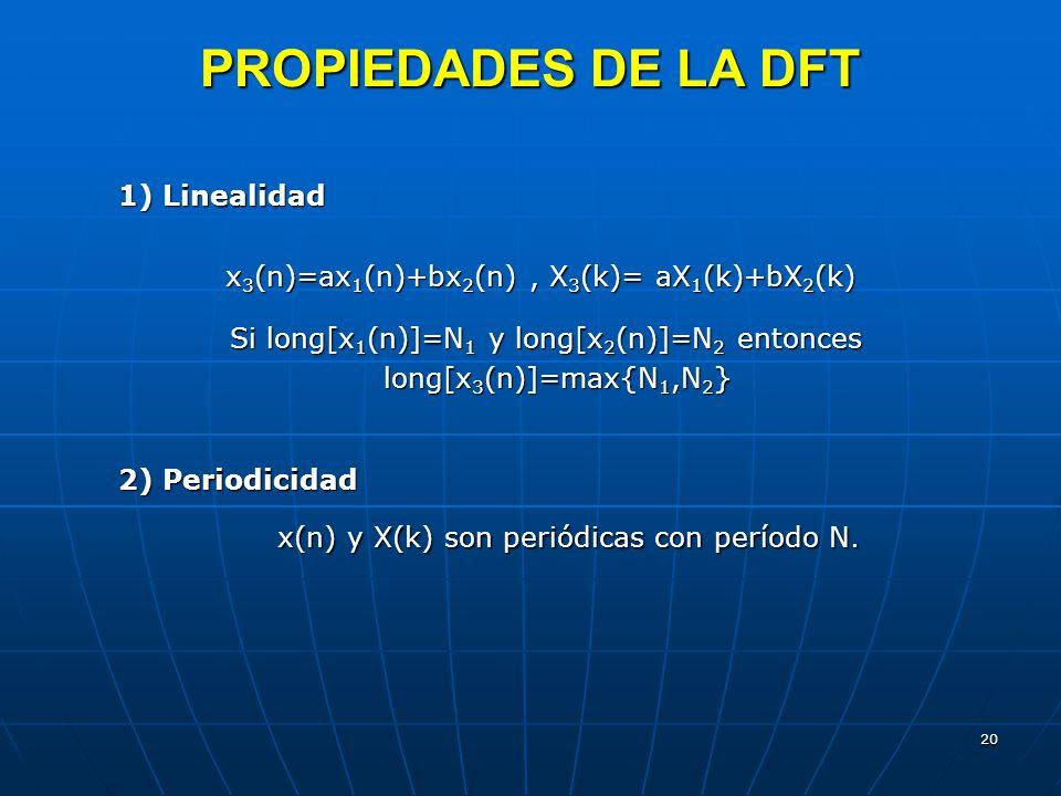20 PROPIEDADES DE LA DFT 1) Linealidad x 3 (n)=ax 1 (n)+bx 2 (n), X 3 (k)= aX 1 (k)+bX 2 (k) x 3 (n)=ax 1 (n)+bx 2 (n), X 3 (k)= aX 1 (k)+bX 2 (k) Si long[x 1 (n)]=N 1 y long[x 2 (n)]=N 2 entonces Si long[x 1 (n)]=N 1 y long[x 2 (n)]=N 2 entonces long[x 3 (n)]=max{N 1,N 2 } 2) Periodicidad x(n) y X(k) son periódicas con período N.