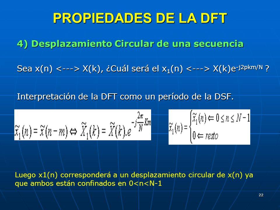 22 PROPIEDADES DE LA DFT 4) Desplazamiento Circular de una secuencia Sea x(n) X(k), ¿Cuál será el x 1 (n) X(k)e -j2pkm/N ? Interpretación de la DFT co