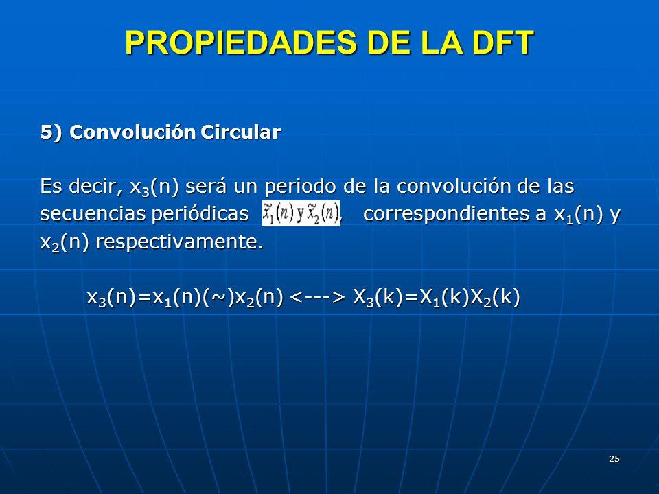 25 PROPIEDADES DE LA DFT 5) Convolución Circular Es decir, x 3 (n) será un periodo de la convolución de las secuencias periódicas, correspondientes a