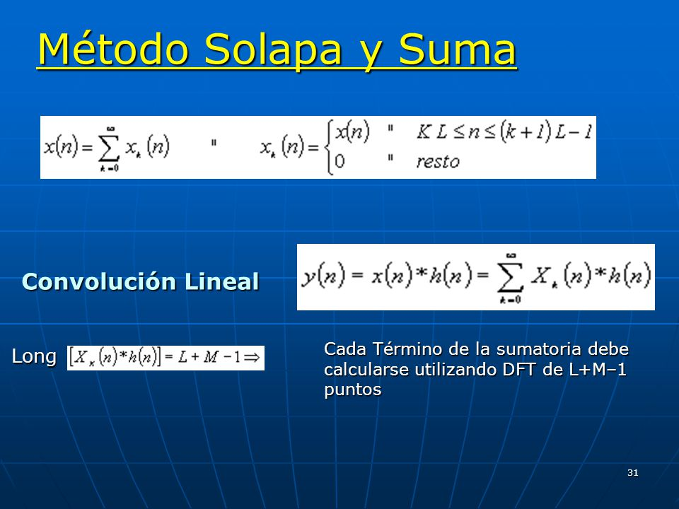 31 Convolución Lineal Convolución LinealLong Método Solapa y Suma Cada Término de la sumatoria debe calcularse utilizando DFT de L+M–1 puntos
