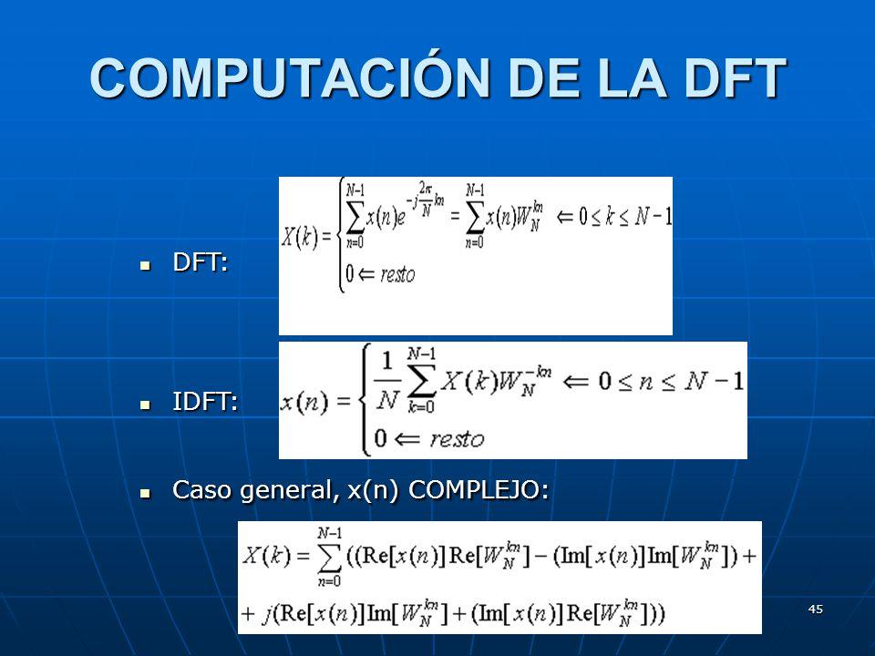 45 COMPUTACIÓN DE LA DFT DFT: DFT: IDFT: IDFT: Caso general, x(n) COMPLEJO: Caso general, x(n) COMPLEJO: