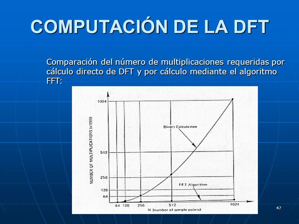 47 COMPUTACIÓN DE LA DFT Comparación del número de multiplicaciones requeridas por cálculo directo de DFT y por cálculo mediante el algoritmo FFT: