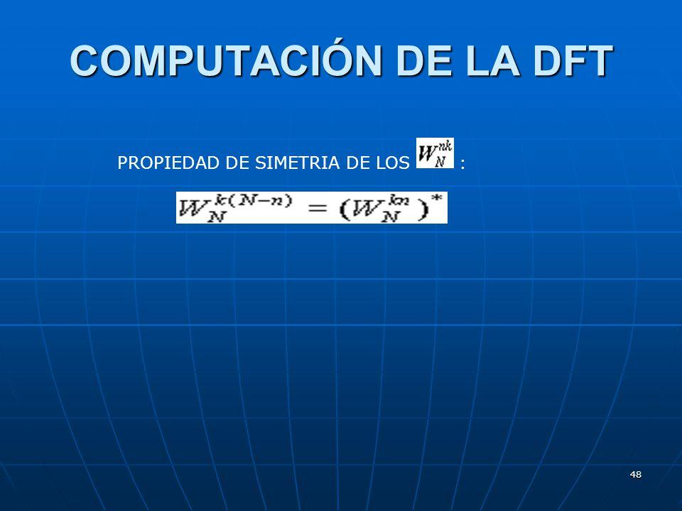 48 COMPUTACIÓN DE LA DFT PROPIEDAD DE SIMETRIA DE LOS :