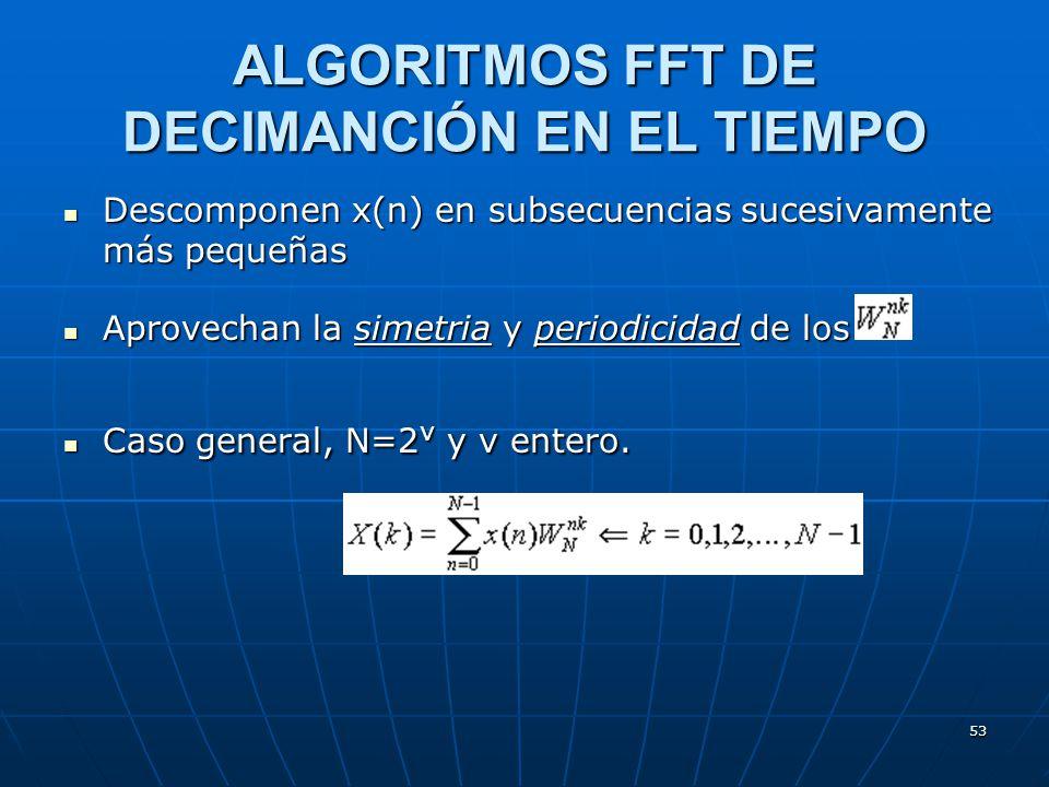 53 Descomponen x(n) en subsecuencias sucesivamente más pequeñas Descomponen x(n) en subsecuencias sucesivamente más pequeñas Aprovechan la simetria y periodicidad de los Aprovechan la simetria y periodicidad de los Caso general, N=2 v y v entero.
