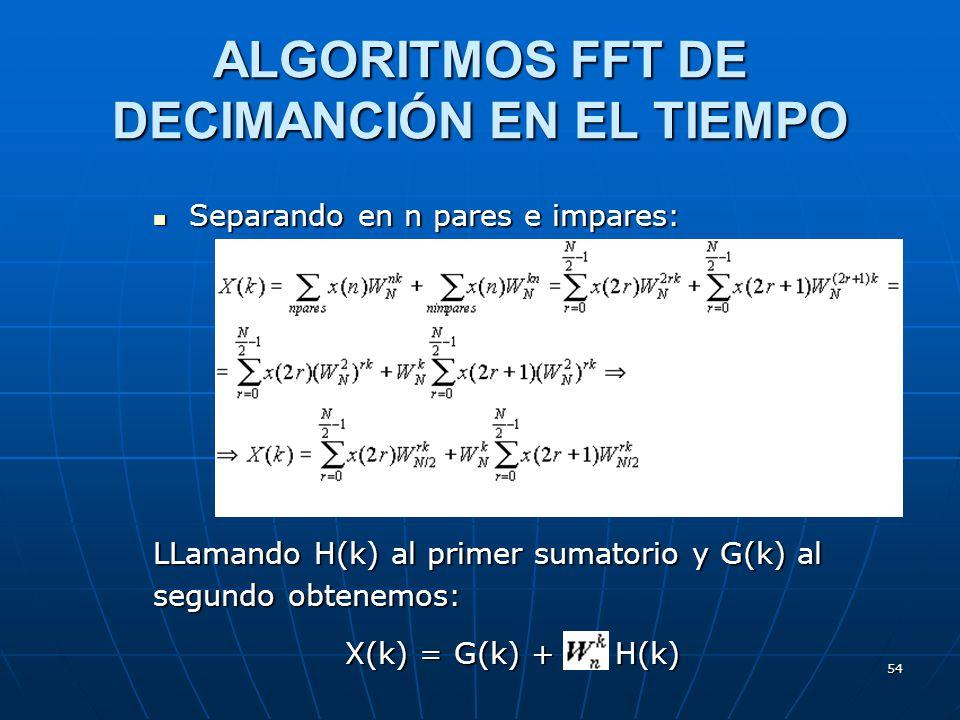 54 Separando en n pares e impares: Separando en n pares e impares: LLamando H(k) al primer sumatorio y G(k) al segundo obtenemos: X(k) = G(k) + H(k) A