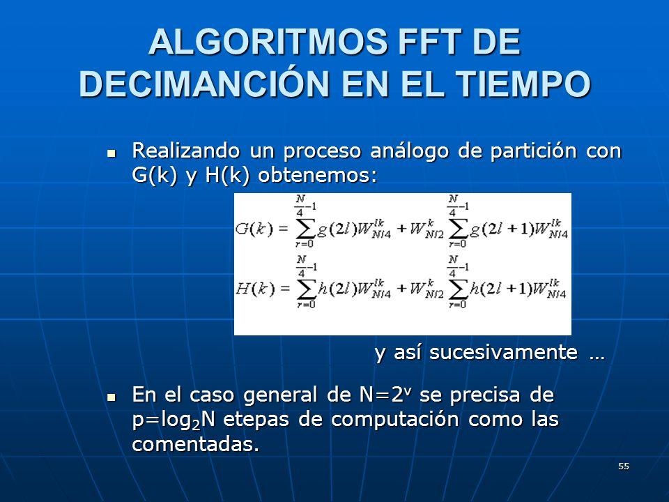 55 Realizando un proceso análogo de partición con G(k) y H(k) obtenemos: Realizando un proceso análogo de partición con G(k) y H(k) obtenemos: y así sucesivamente … En el caso general de N=2 v se precisa de p=log 2 N etepas de computación como las comentadas.