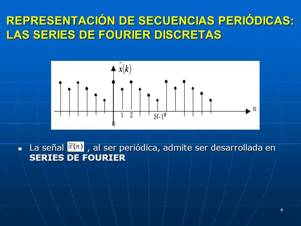 6 REPRESENTACIÓN DE SECUENCIAS PERIÓDICAS: LAS SERIES DE FOURIER DISCRETAS La señal, al ser periódica, admite ser desarrollada en SERIES DE FOURIER La señal, al ser periódica, admite ser desarrollada en SERIES DE FOURIER