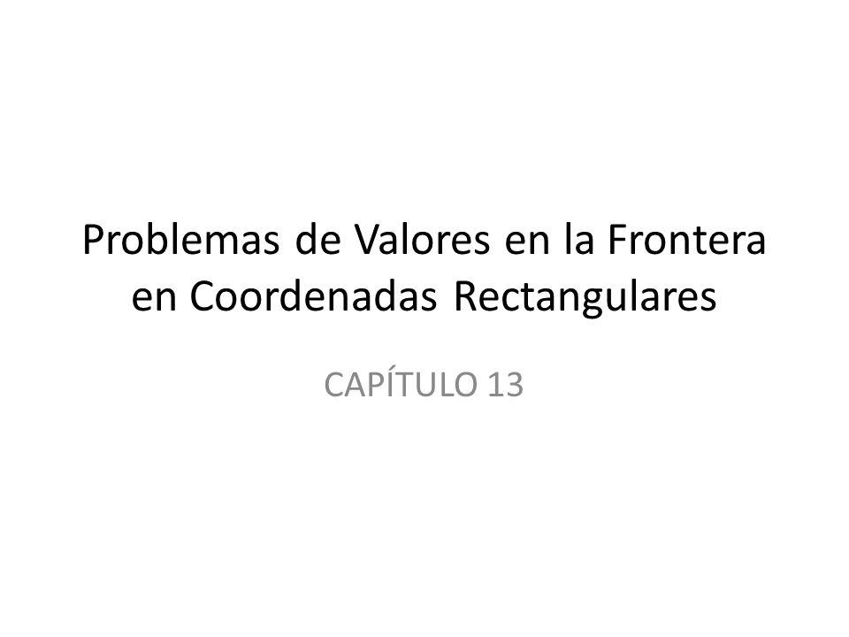 Contenidos 13.1 Ecuaciones Diferenciales Parciales Separables 13.2 EDP Clásicas y Problemas de Valores en la Frontera 13.3 Ecuación de Calor 13.4 Ecuación de Onda 13.5 Ecuación de Laplace 13.6 Problemas de Valores en la Frontera no homogéneos 13.7 Desarrollos en Series Ortogonales 13.8 Series de Fourier con Dos Variables