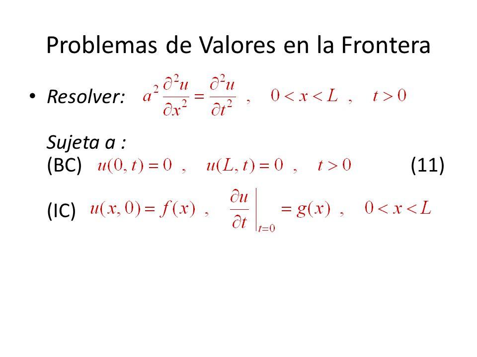 Problemas de Valores en la Frontera Resolver: Sujeta a : (BC)(11) (IC)