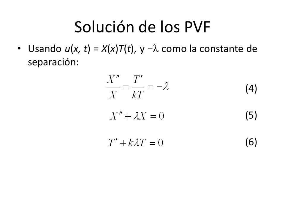 Solución de los PVF Usando u(x, t) = X(x)T(t), y como la constante de separación: (4) (5) (6)