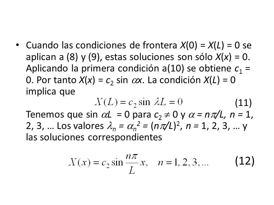 Cuando las condiciones de frontera X(0) = X(L) = 0 se aplican a (8) y (9), estas soluciones son sólo X(x) = 0. Aplicando la primera condición a(10) se