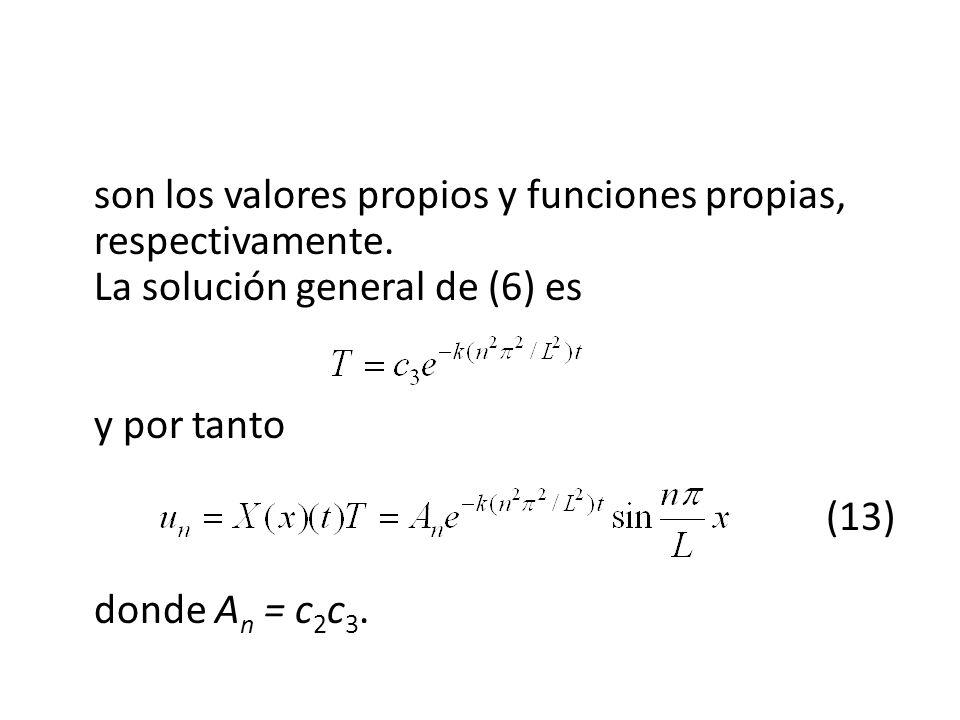 son los valores propios y funciones propias, respectivamente. La solución general de (6) es y por tanto (13) donde A n = c 2 c 3.
