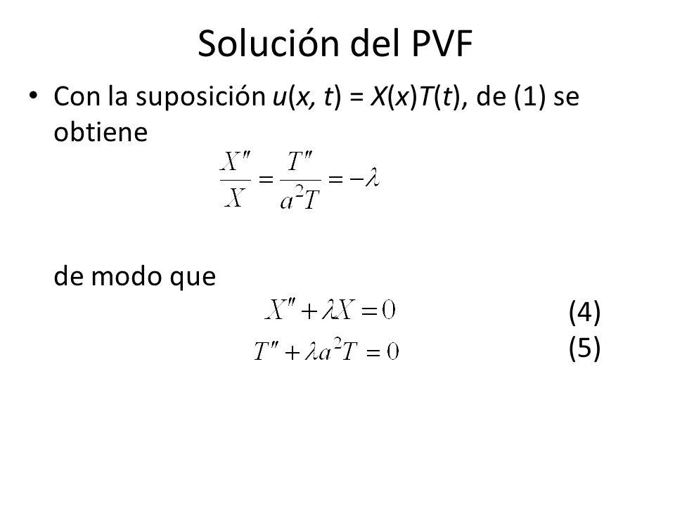 Solución del PVF Con la suposición u(x, t) = X(x)T(t), de (1) se obtiene de modo que (4) (5)