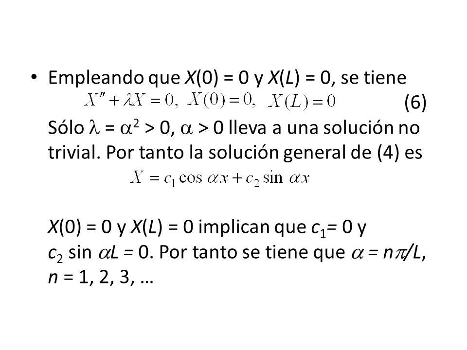 Empleando que X(0) = 0 y X(L) = 0, se tiene (6) Sólo = 2 > 0, > 0 lleva a una solución no trivial. Por tanto la solución general de (4) es X(0) = 0 y