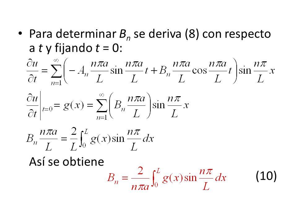 Para determinar B n se deriva (8) con respecto a t y fijando t = 0: Así se obtiene (10)