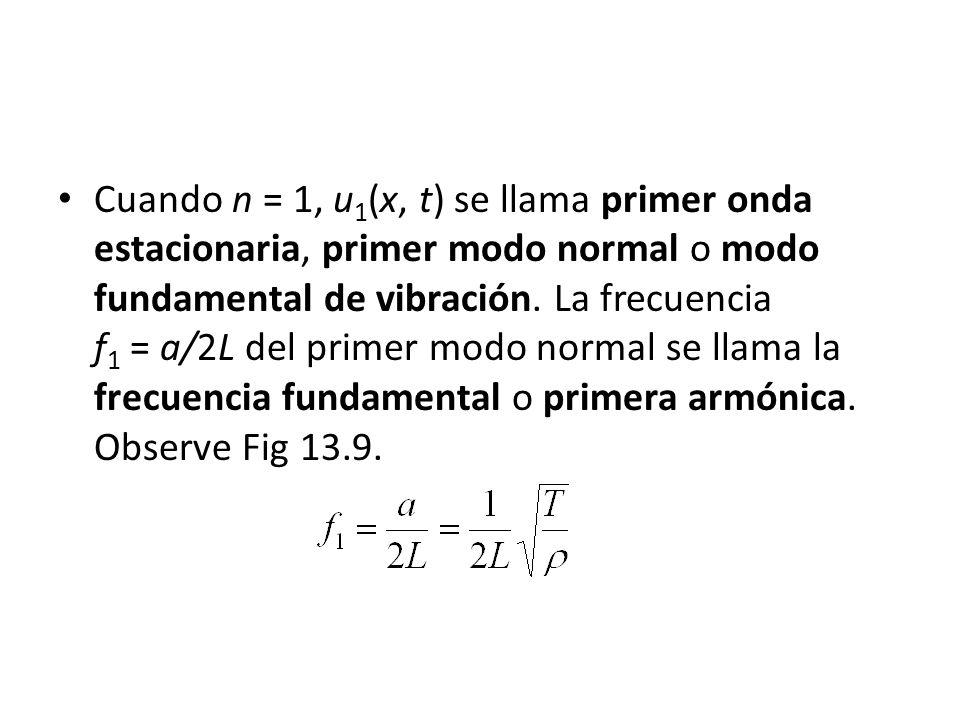 Cuando n = 1, u 1 (x, t) se llama primer onda estacionaria, primer modo normal o modo fundamental de vibración. La frecuencia f 1 = a/2L del primer mo