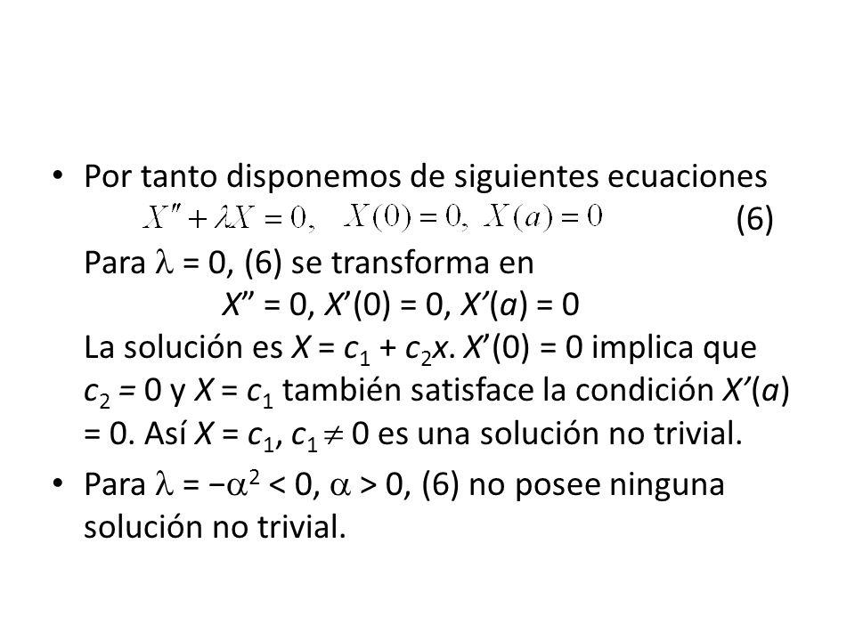 Por tanto disponemos de siguientes ecuaciones (6) Para = 0, (6) se transforma en X = 0, X(0) = 0, X(a) = 0 La solución es X = c 1 + c 2 x. X(0) = 0 im