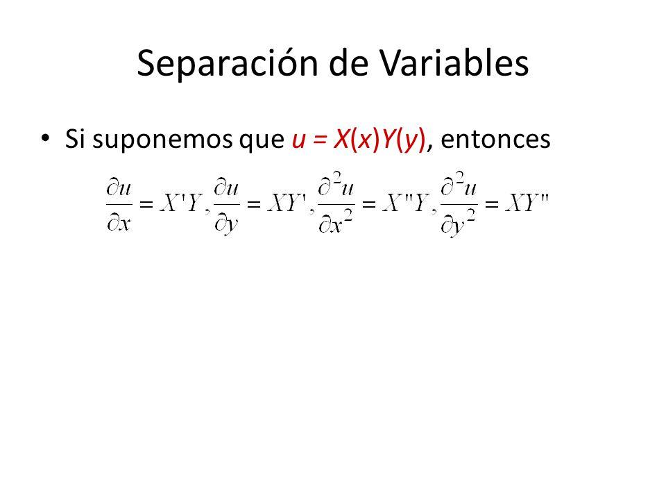 Separación de Variables Si suponemos que u = X(x)Y(y), entonces