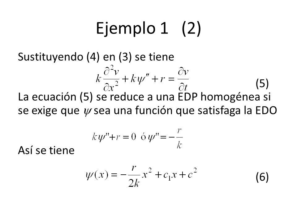 Ejemplo 1 (2) Sustituyendo (4) en (3) se tiene (5) La ecuación (5) se reduce a una EDP homogénea si se exige que sea una función que satisfaga la EDO