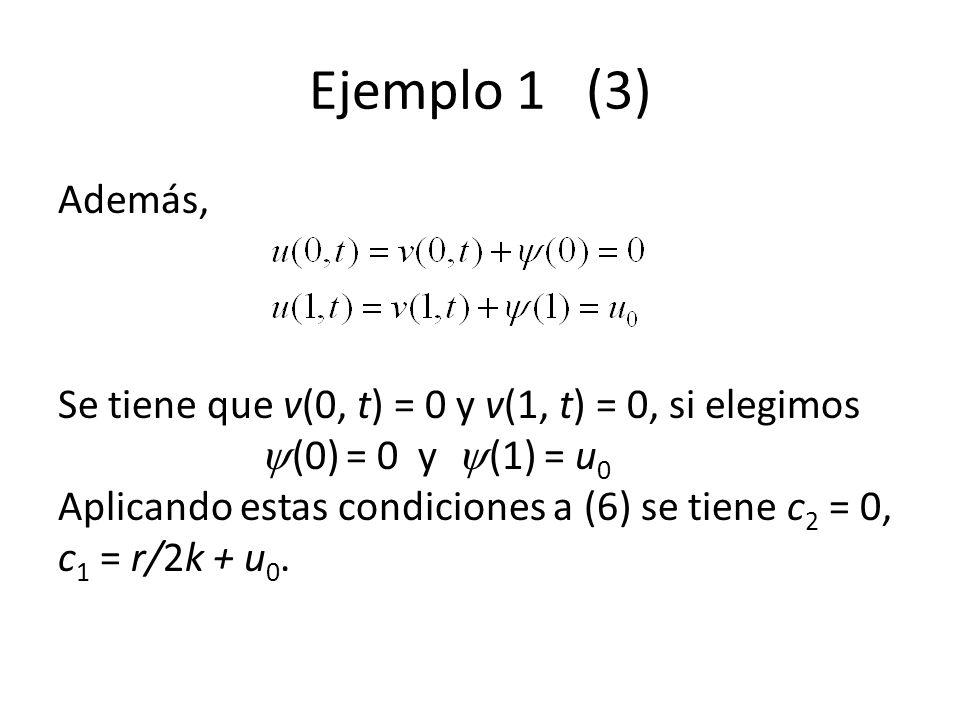 Ejemplo 1 (3) Además, Se tiene que v(0, t) = 0 y v(1, t) = 0, si elegimos (0) = 0 y (1) = u 0 Aplicando estas condiciones a (6) se tiene c 2 = 0, c 1