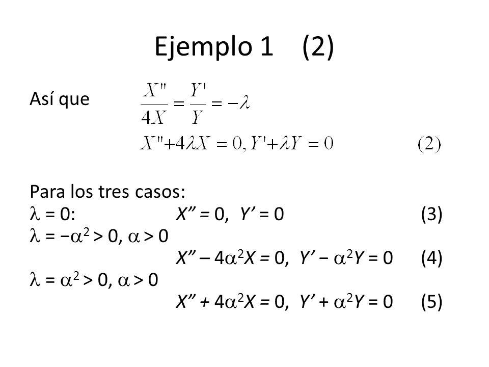 Ejemplo 1 (5) Ahora en t = 0, u(x, 0) = 1, 0 < x < 1, de forma que (6) (6) es un desarrollo de u(x, 0) = 1 en términos de las funciones ortogonales que surgen del problema regular de Sturm-Liouville (4).