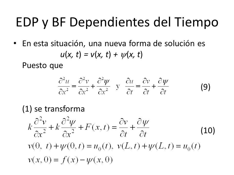 EDP y BF Dependientes del Tiempo En esta situación, una nueva forma de solución es u(x, t) = v(x, t) + (x, t) Puesto que (9) (1) se transforma (10)