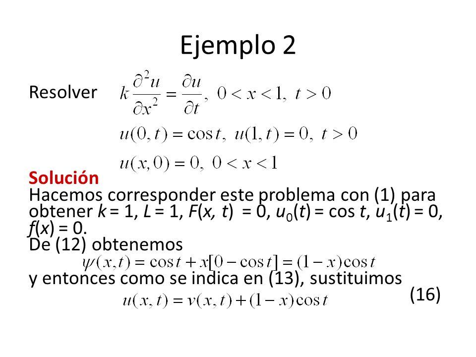 Ejemplo 2 Resolver Solución Hacemos corresponder este problema con (1) para obtener k = 1, L = 1, F(x, t) = 0, u 0 (t) = cos t, u 1 (t) = 0, f(x) = 0.