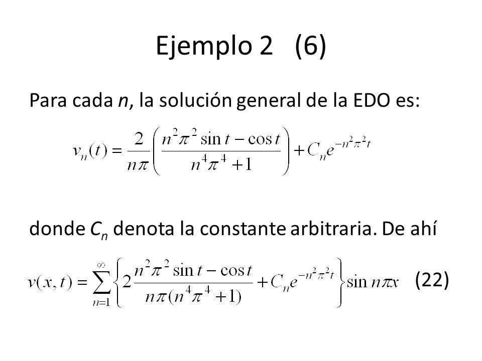 Ejemplo 2 (6) Para cada n, la solución general de la EDO es: donde C n denota la constante arbitraria. De ahí (22)