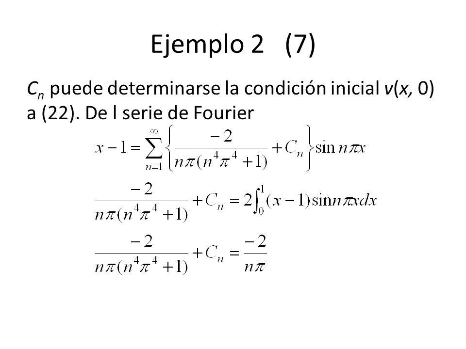 Ejemplo 2 (7) C n puede determinarse la condición inicial v(x, 0) a (22). De l serie de Fourier