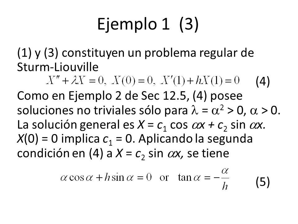 Ejemplo 1 (3) (1) y (3) constituyen un problema regular de Sturm-Liouville (4) Como en Ejemplo 2 de Sec 12.5, (4) posee soluciones no triviales sólo p