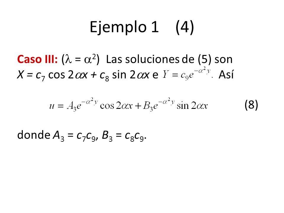 Ejemplo 1 (4) Caso III: ( = 2 ) Las soluciones de (5) son X = c 7 cos 2 x + c 8 sin 2 x e Así (8) donde A 3 = c 7 c 9, B 3 = c 8 c 9.