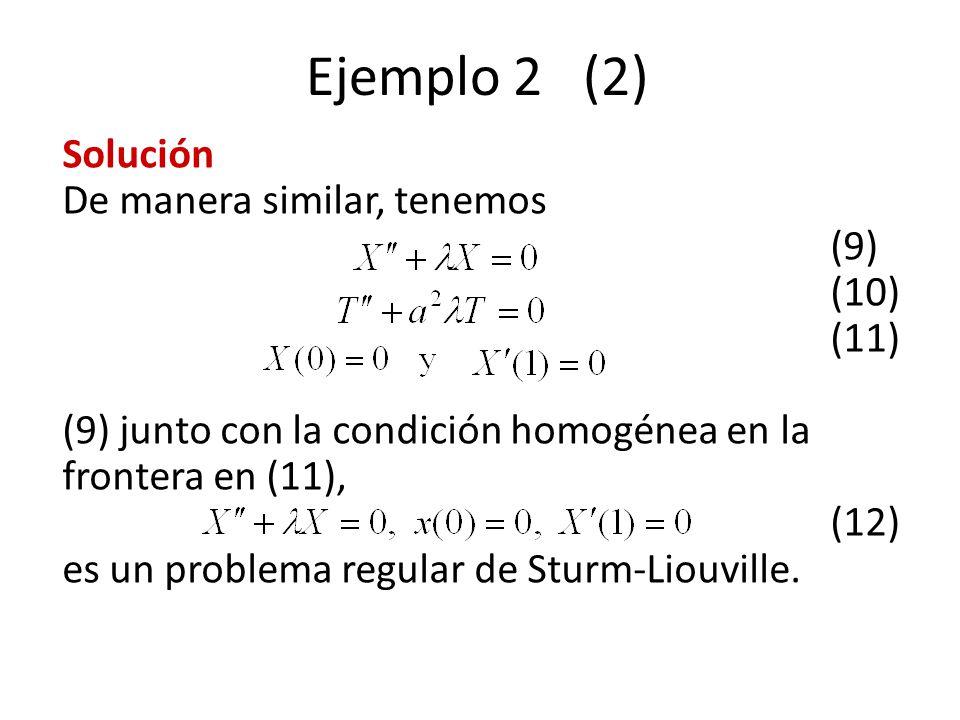 Ejemplo 2 (2) Solución De manera similar, tenemos (9) (10) (11) (9) junto con la condición homogénea en la frontera en (11), (12) es un problema regul