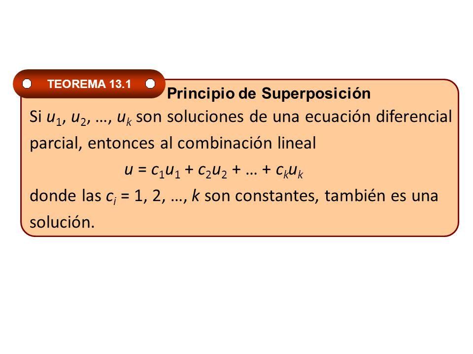 Si u 1, u 2, …, u k son soluciones de una ecuación diferencial parcial, entonces al combinación lineal u = c 1 u 1 + c 2 u 2 + … + c k u k donde las c
