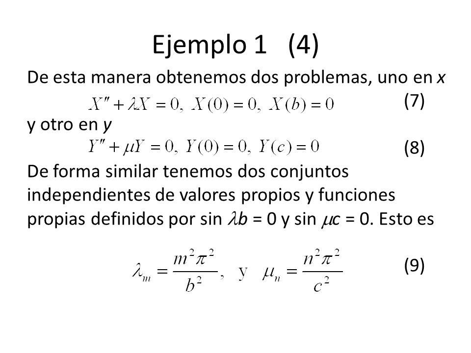 Ejemplo 1 (4) De esta manera obtenemos dos problemas, uno en x (7) y otro en y (8) De forma similar tenemos dos conjuntos independientes de valores pr